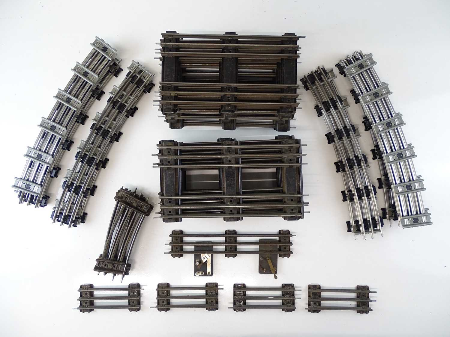 A large quantity of HORNBY SERIES O Gauge 3-rail track mostly straight track sections including