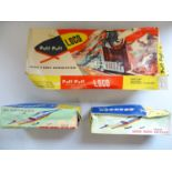 A group of Chinese tinplate battery and friction toys comprising a Puff-Puff Loco and 2x Super Sonic