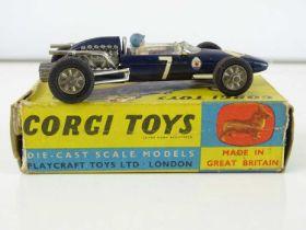 A CORGI Toys 156 Cooper-Maserati Formula 1 Car in dark blue - G in F/G box (one internal flap