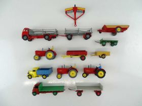 A group of unboxed DINKY agricultural models, some repainted and some Code 3 - G/VG (13)