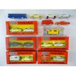 A group of TRI-ANG MINIX OO Gauge cars to include a group of rare twinpacks - G/VG in G boxes (where