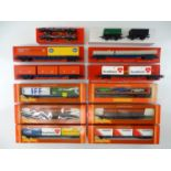 A quantity of TRI-ANG and HORNBY OO Gauge container wagons, vans etc as lotted, some in repro