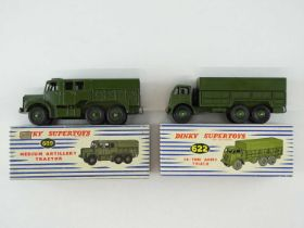 A pair of DINKY military vehicles comprising a 622 Army Truck and a 689 Medium Artillery Tractor -