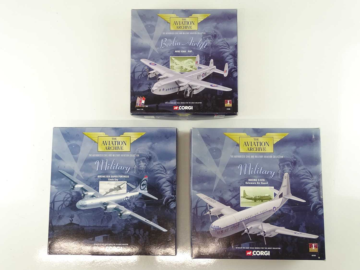 A group of CORGI AVIATION ARCHIVE 1:144 scale Military and Berlin Airlift Series propellor