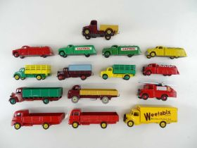 A group of unboxed DINKY lorry and van models, some repainted and some Code 3 - G/VG (15)