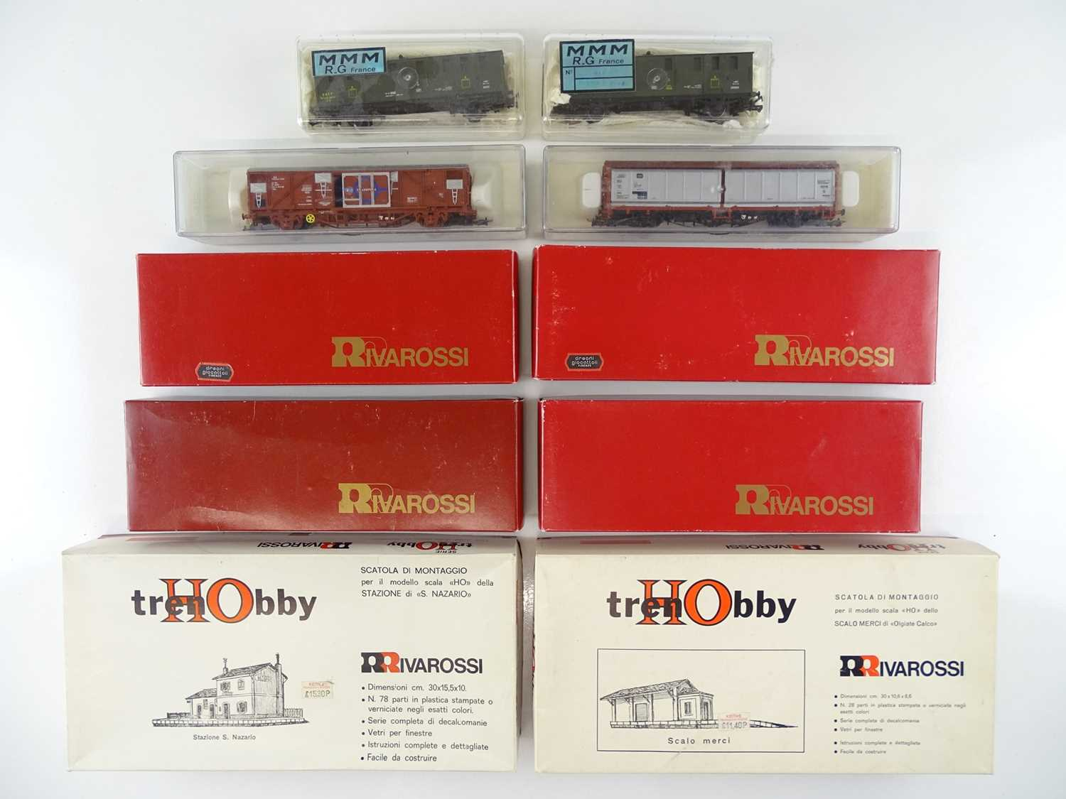 A group of French and Italian Outline HO Gauge goods wagons by RIVAROSSI, ELECTROTREN and MMM -