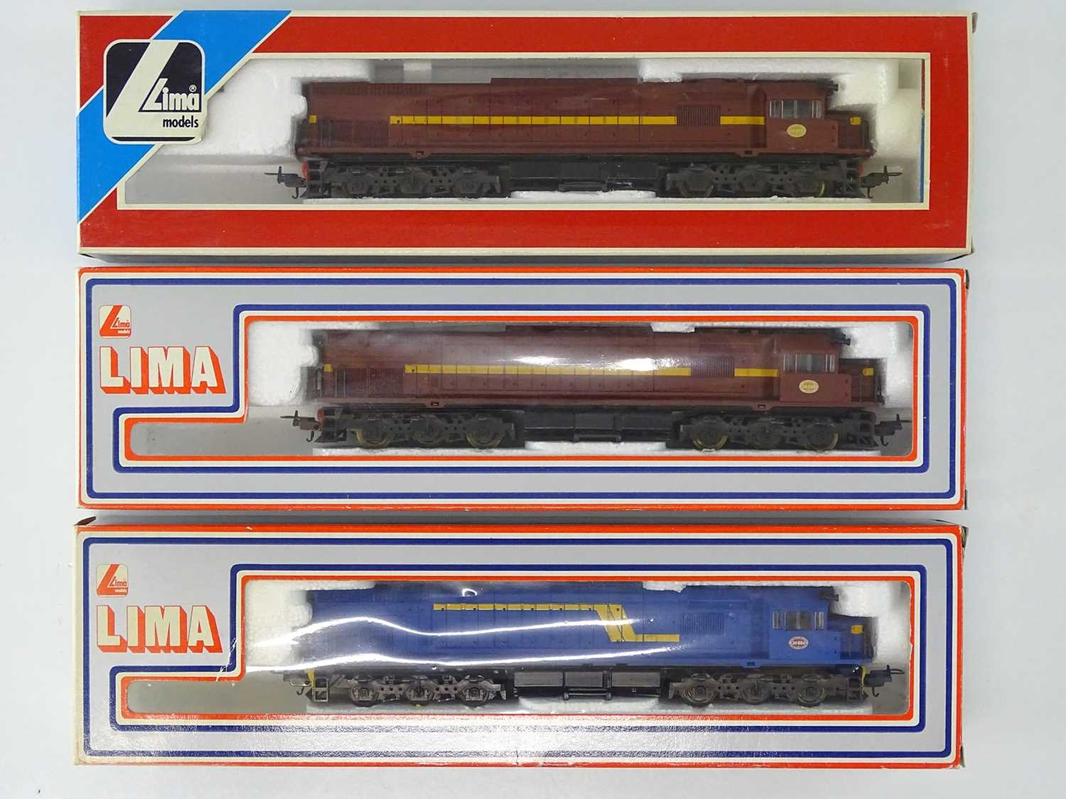 A group of LIMA HO Gauge South African Outline Class 34 diesel locomotives in various liveries -