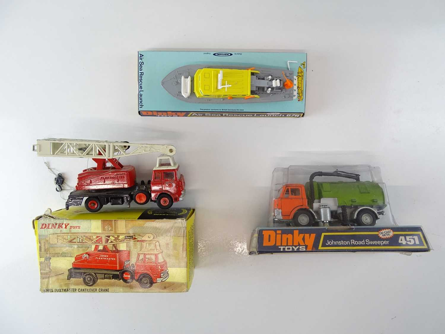 A DINKY 451 Road Sweeper together with a 970 Cantilever Crane and a 678 Air Sea Rescue Launch - F/