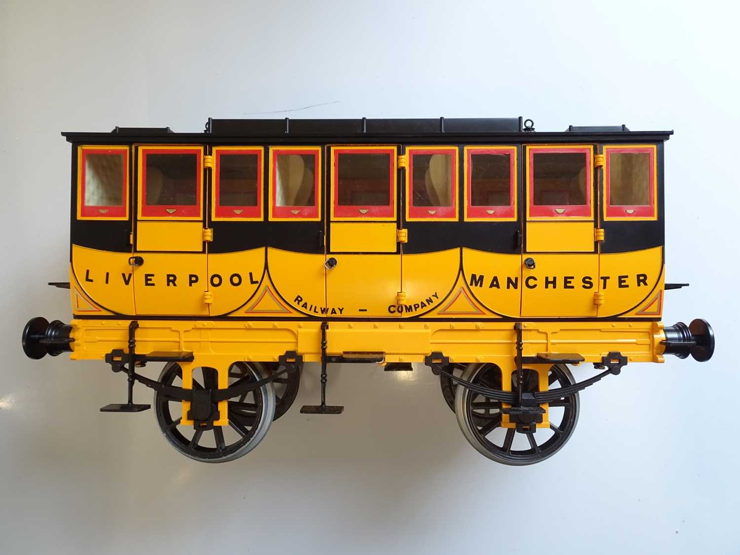 A Hornby 3.5 inch scale G104 coach as issued for the live steam Rocket - un-named with complete