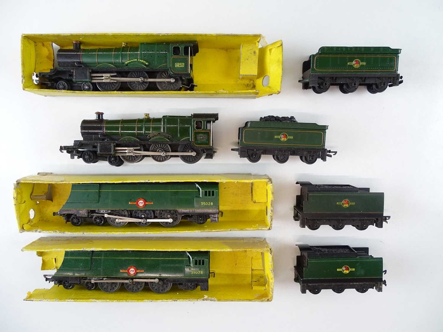 A group of unboxed TRI-ANG TT Gauge steam locomotives comprising 2 x Castle Class and 2 x Merchant