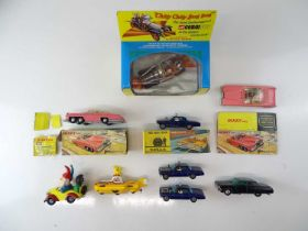 A quantity of TV and film related CORGI and DINKY toys to include 2 x FAB 1, 3 x Thrushbuster (one