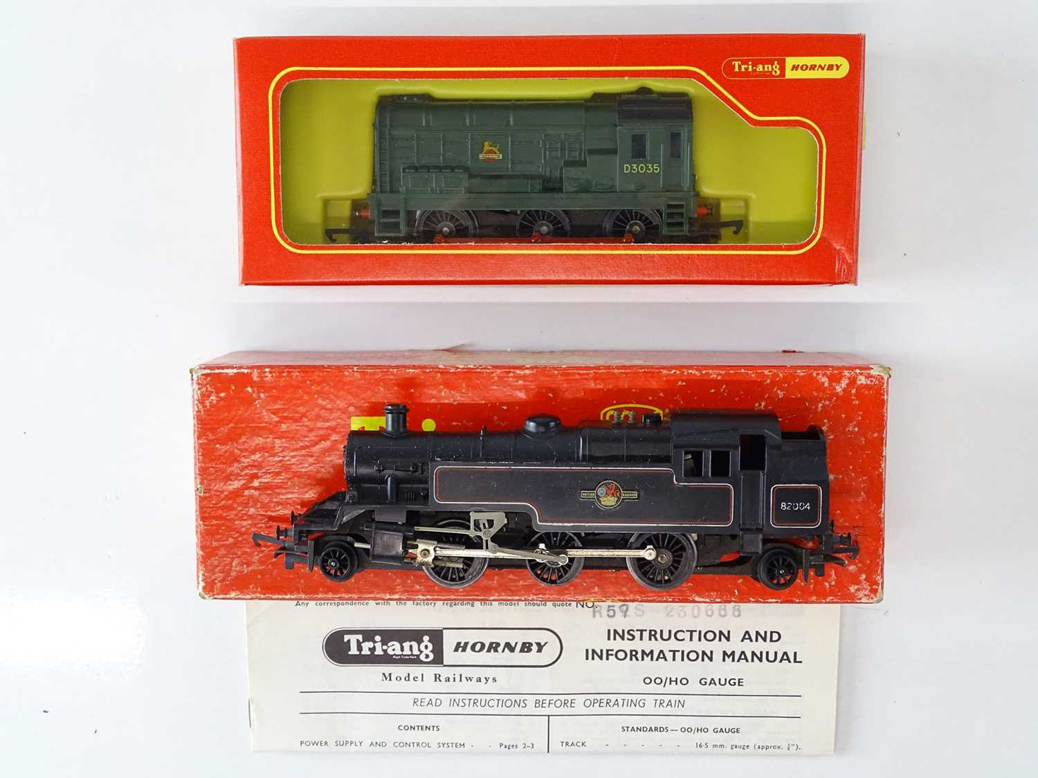 A pair of TRI-ANG and TRI-ANG HORNBY OO Gauge locomotives comprising a Class 3MT steam tank and a