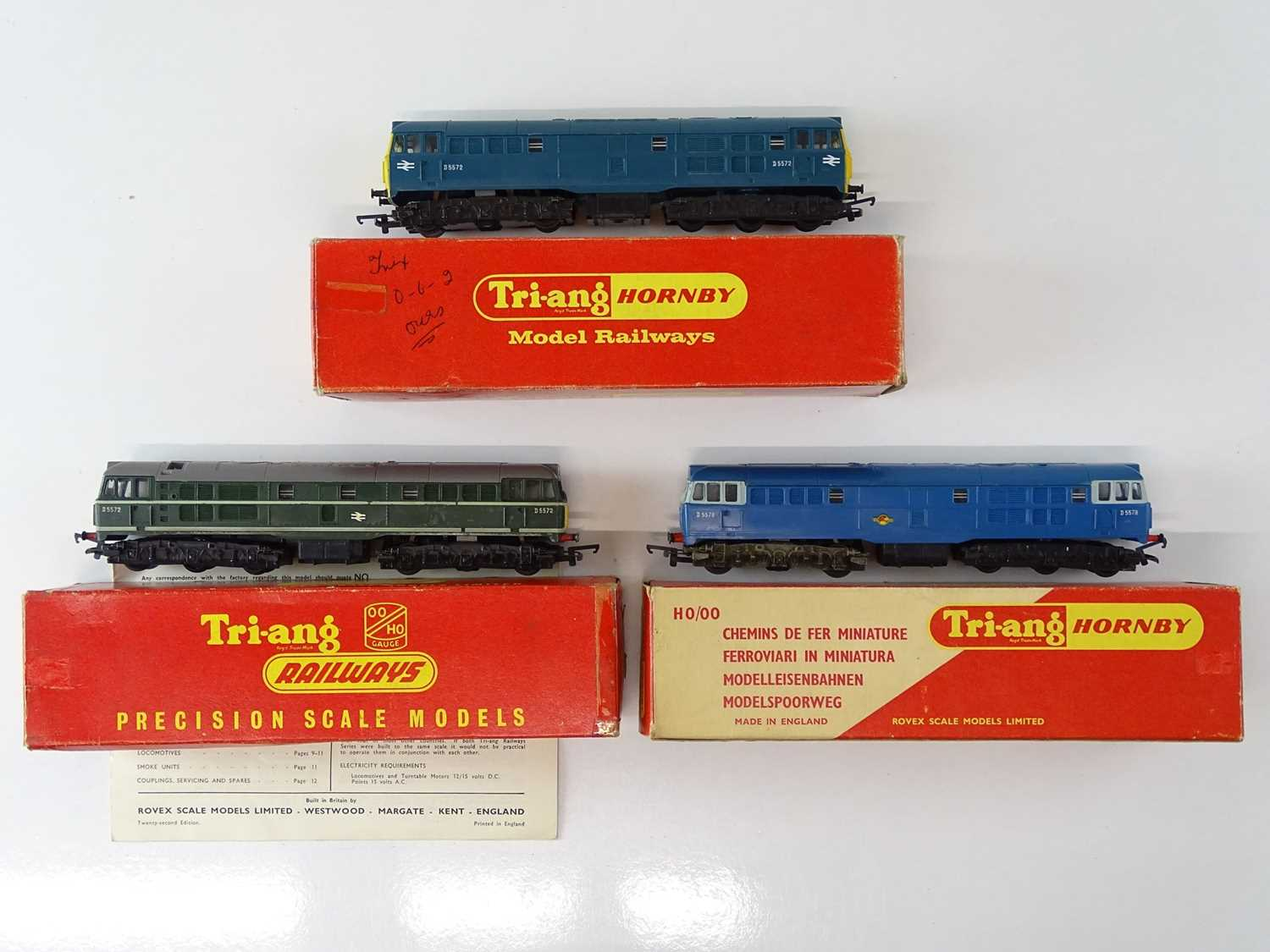 A group of TRI-ANG OO Gauge Class 31 diesel locomotives in various liveries - F/G in F/G boxes (3)