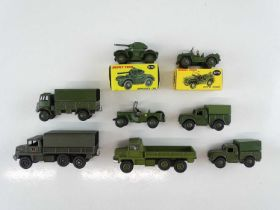 A group of mostly unboxed DINKY military vehicles - G in G boxes where boxed (one repro box) (8)