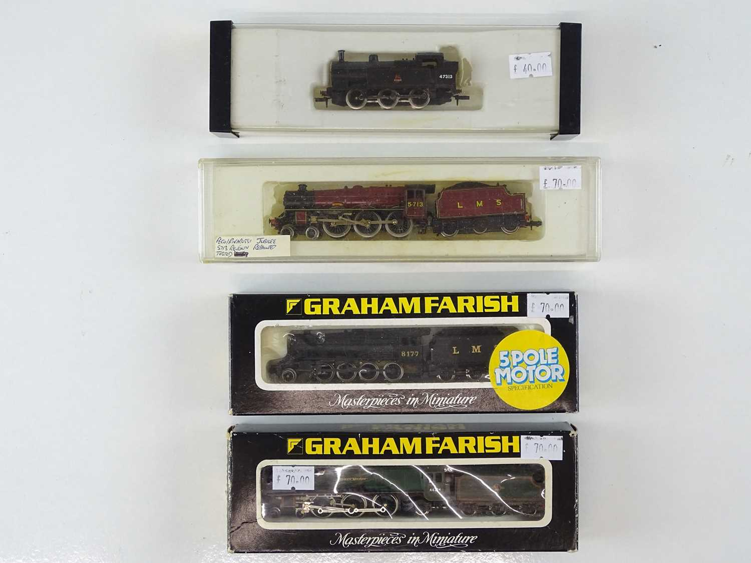 A group of FARISH and PECO N gauge steam locomotives in LMS and BR liveries (Peco and Farish Duchess