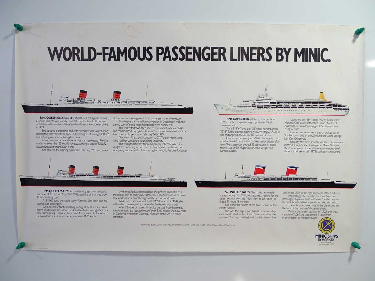 A pair of promotional posters for HORNBY MINIC SHIPS comprising 'World Famous Passenger Liners'