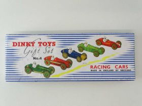 A DINKY Toys Racing Cars Gift Set No. 4 - restored in a VG repro box with packing pieces