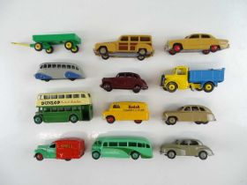 A group of unboxed DINKY cars, buses and vans, some repainted - G (12)