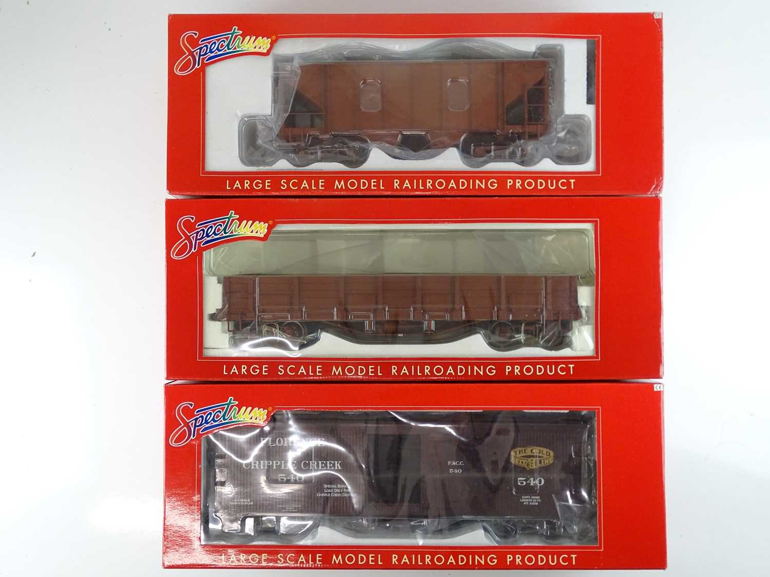 A group of SPECTRUM American outline G scale narrow gauge 1:20.3 mixed bogie wagons - as new, ex-