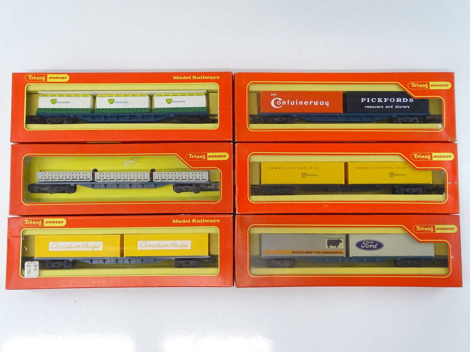 A group of TRI-ANG HORNBY OO Gauge bogie container wagons to include rarer Canadian Pacific examples