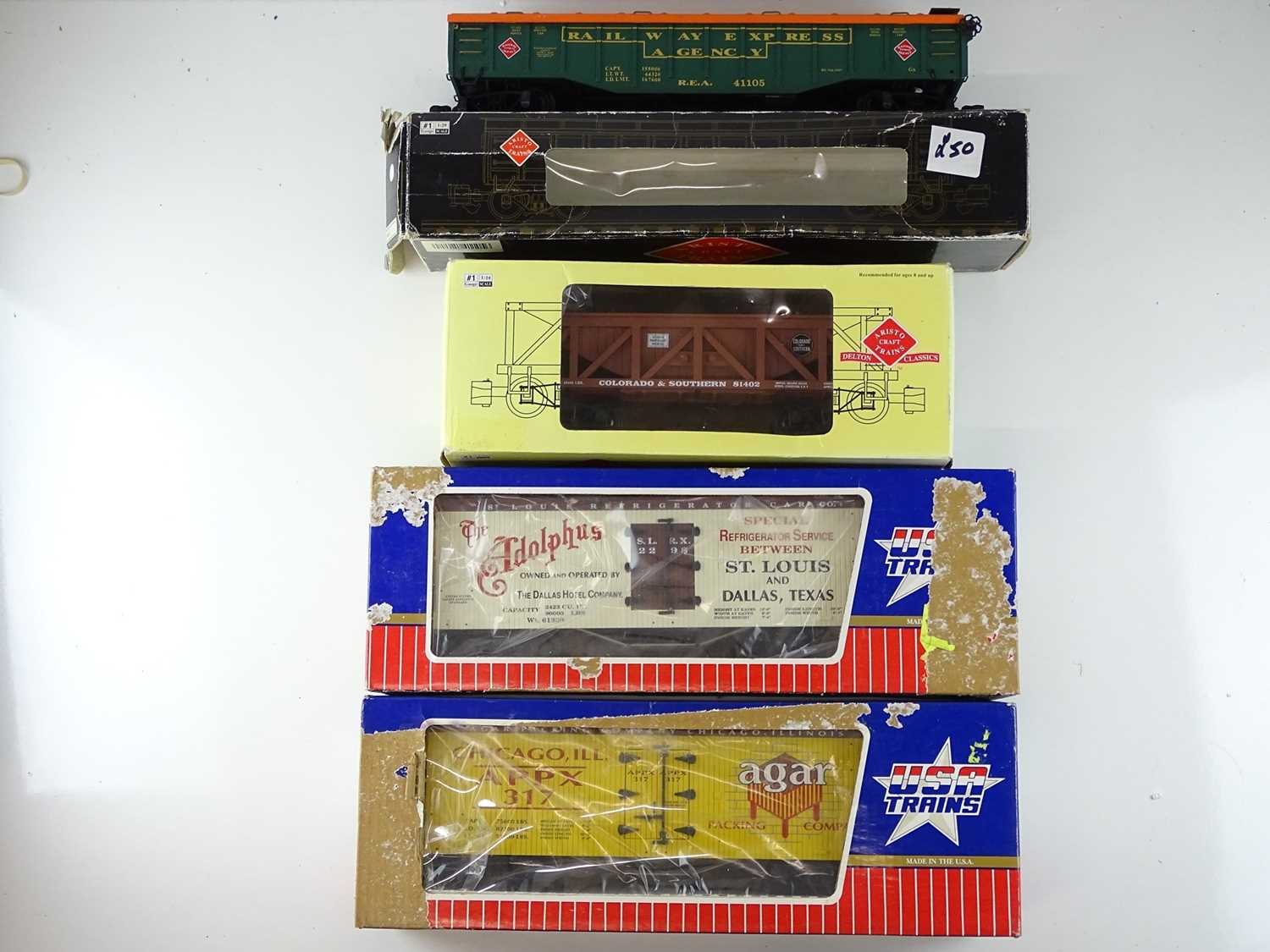 A group of American outline G Scale wagons by USA TRAINS and ARISTOCRAFT - G/VG in P/F boxes (4)