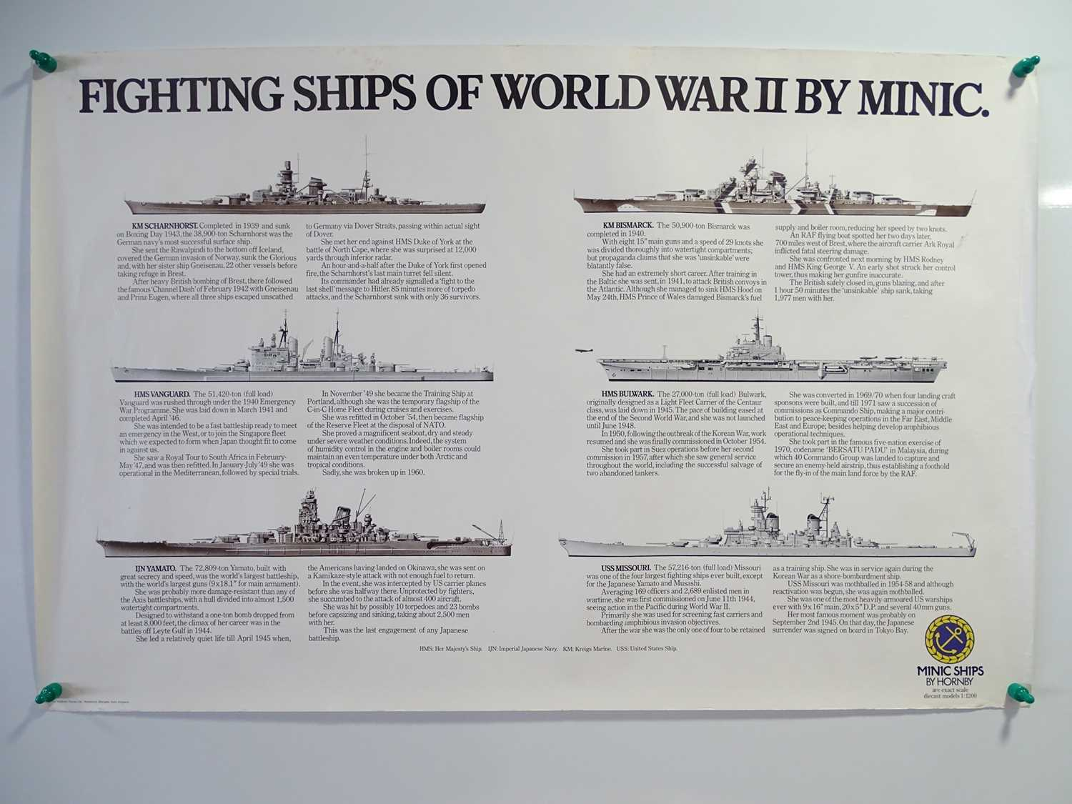 A pair of promotional posters for HORNBY MINIC SHIPS comprising 'World Famous Passenger Liners' - Image 2 of 2