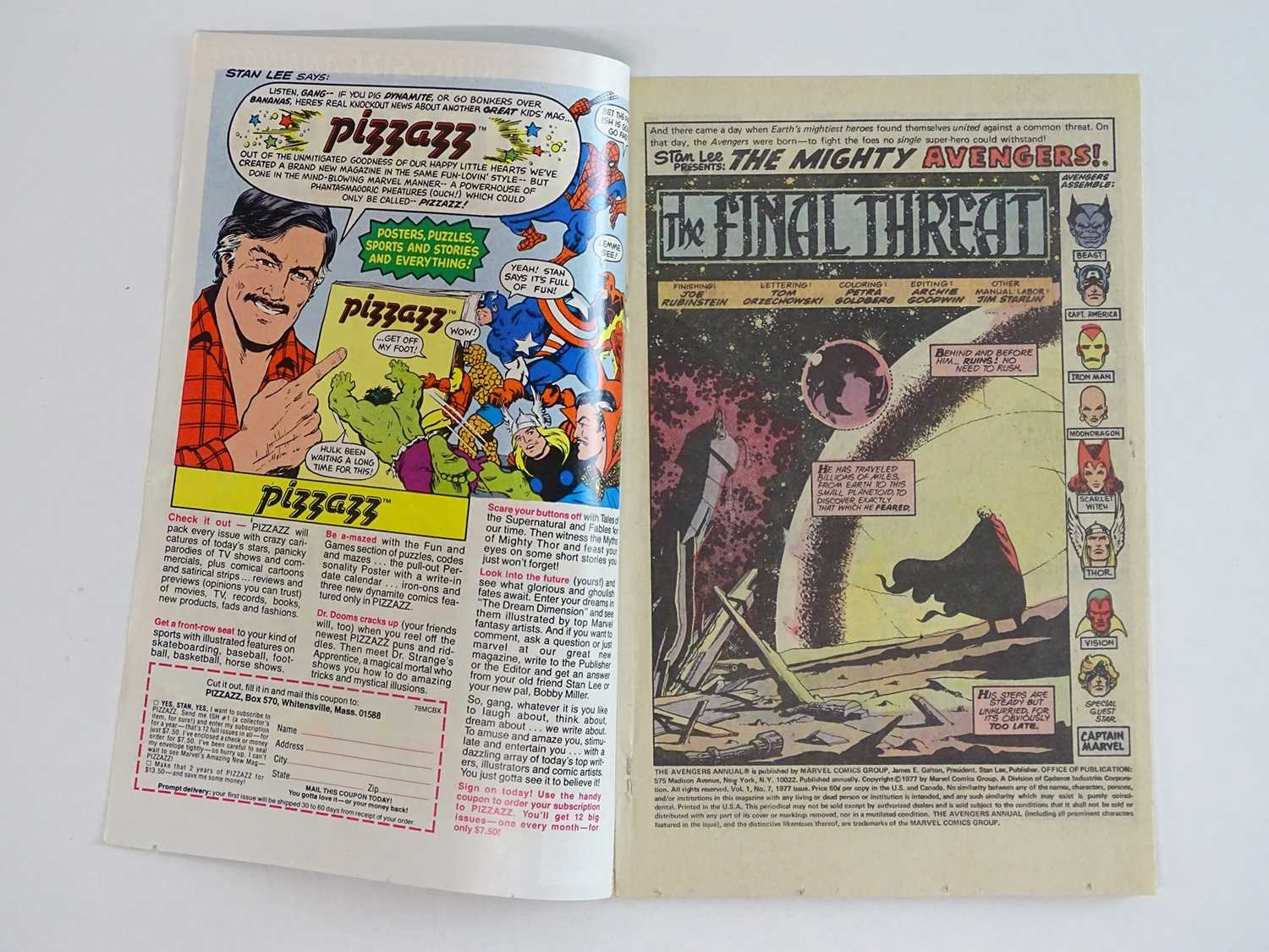 """AVENGERS KING-SIZE ANNUAL #7 - (1977 - MARVEL) - Includes """"Death"""" of Adam Warlock + Thanos, - Image 3 of 11"""