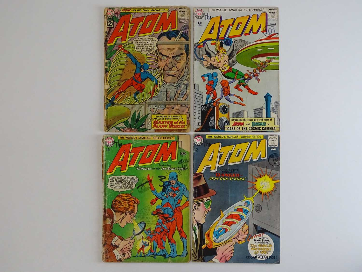 ATOM #1, 7, 11, 12 - (4 in Lot) - (1962/64 - DC - UK Cover Price) - Includes First appearance in own