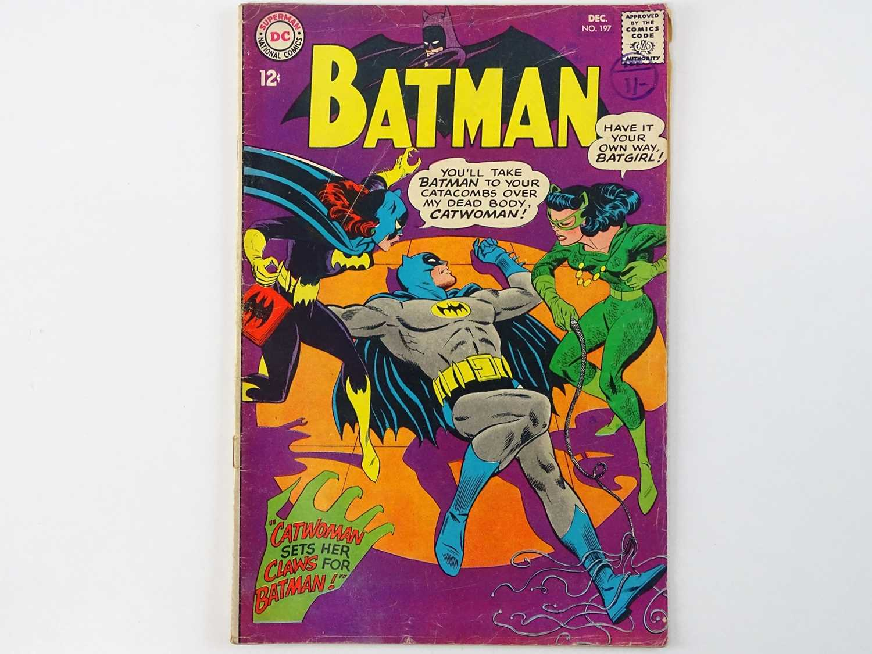 BATMAN #197 - (1967 - DC - Uk Cover Price) - Classic Batman, Batgirl, Catwoman Cover - Fourth Silver