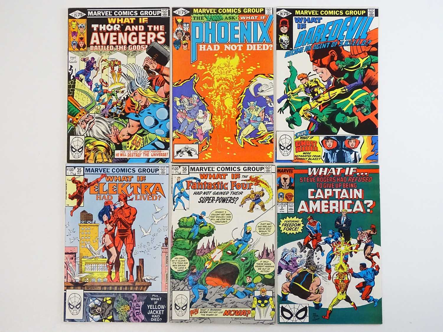 WHAT IF ? #3, 25, 27, 28, 35, 36 - (6 in Lot) - (1981/89 - MARVEL - US Price & UK Price Variant) -