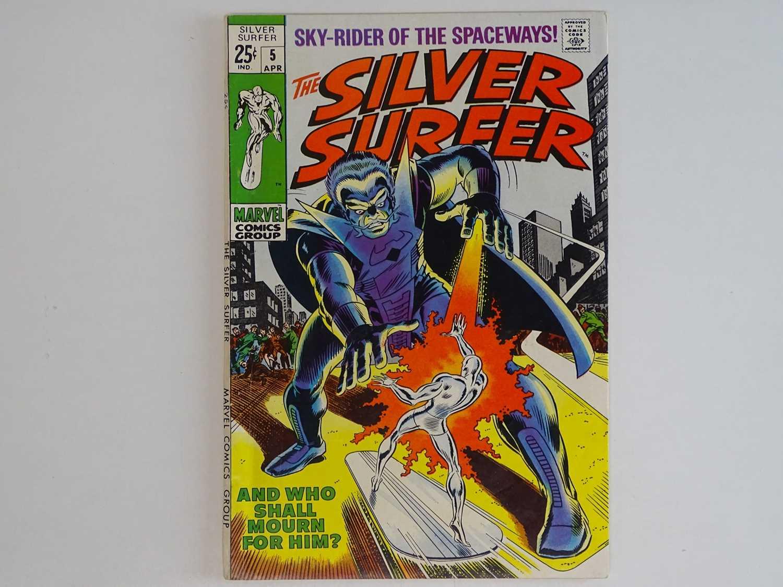 SILVER SURFER #5 - (1969 - MARVEL) Silver Surfer battles the Stranger + The Thing, Mr. Fantastic,