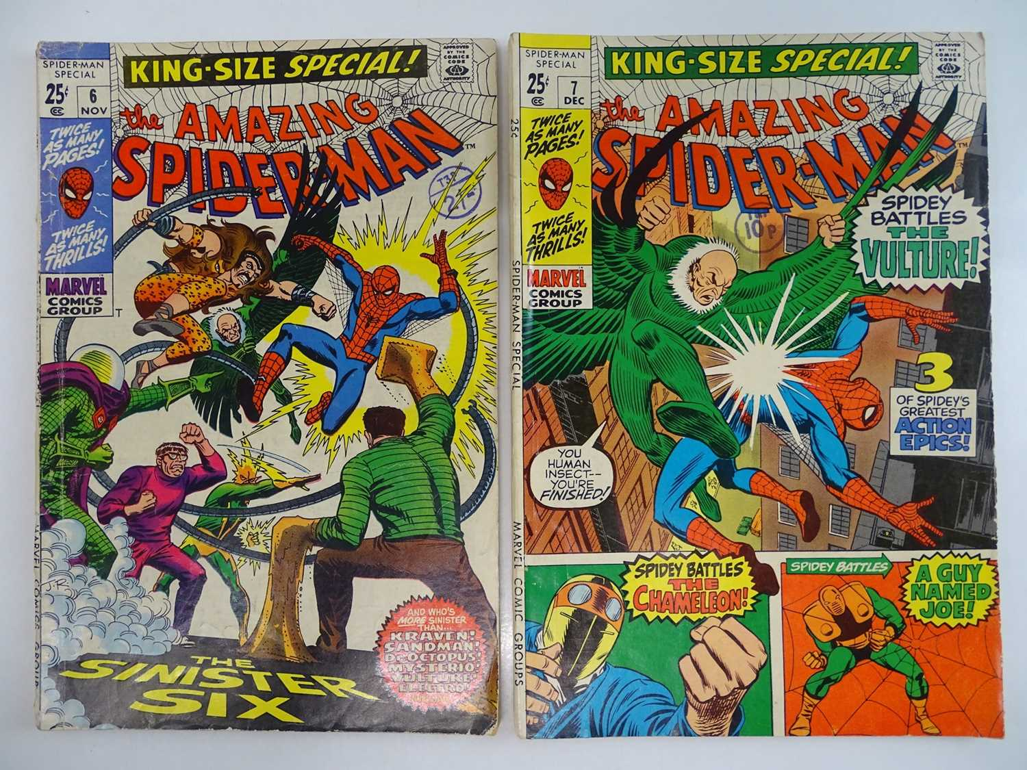 AMAZING SPIDER-MAN: KING-SIZE SPECIAL #6 & 7 - (1968 - MARVEL - UK Cover Price) - King-Size Specials