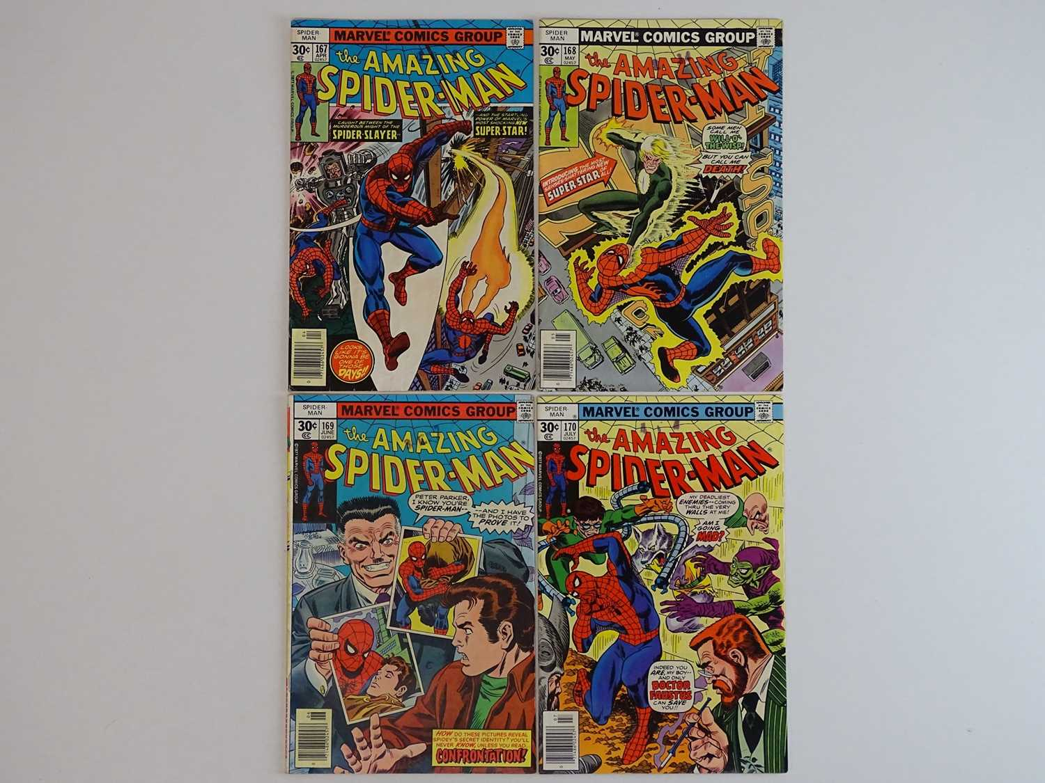 AMAZING SPIDER-MAN #167, 168, 169, 170 - (4 in Lot) - (1977 - MARVEL) - Includes First appearance of