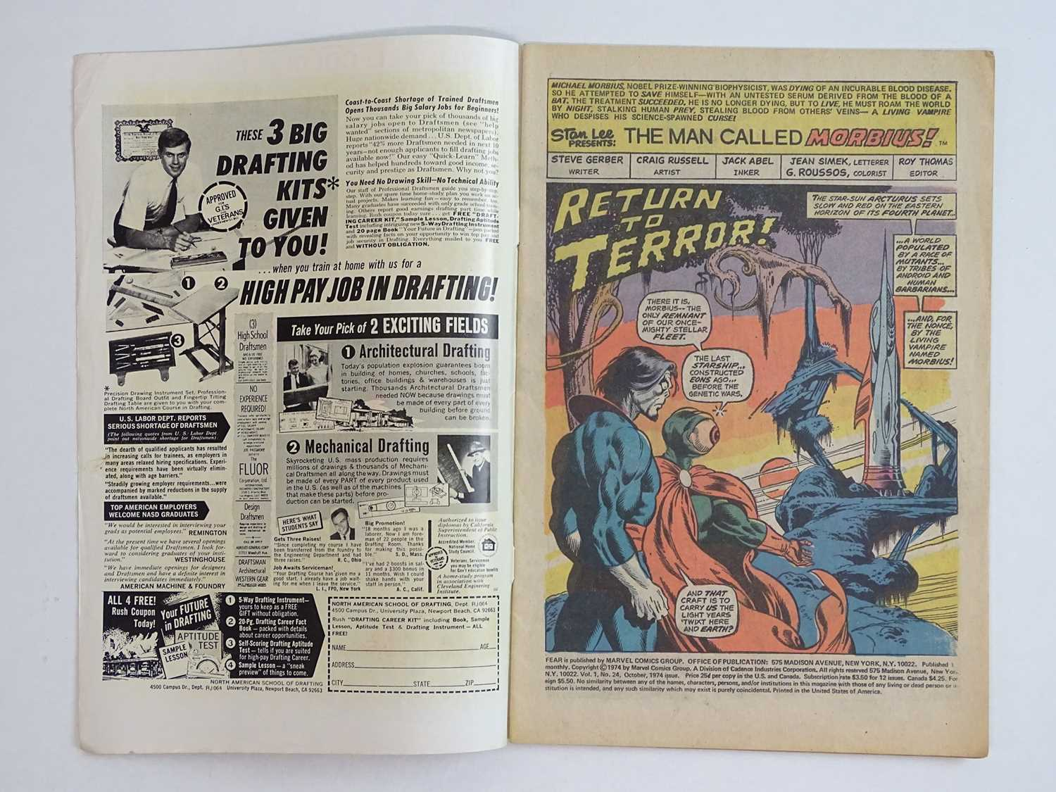 ADVENTURE INTO FEAR: MORBIUS THE LIVING VAMPIRE #24 - (1976 - MARVEL - UK Price Variant) - HOT Key - Image 3 of 9