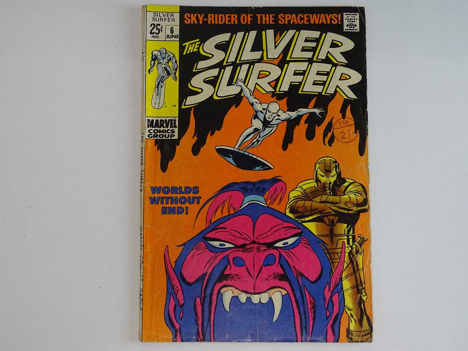 """SILVER SURFER #6 - (1969 - MARVEL - UK Cover Price) """"Tales of the Watcher"""" backup feature with Syd"""