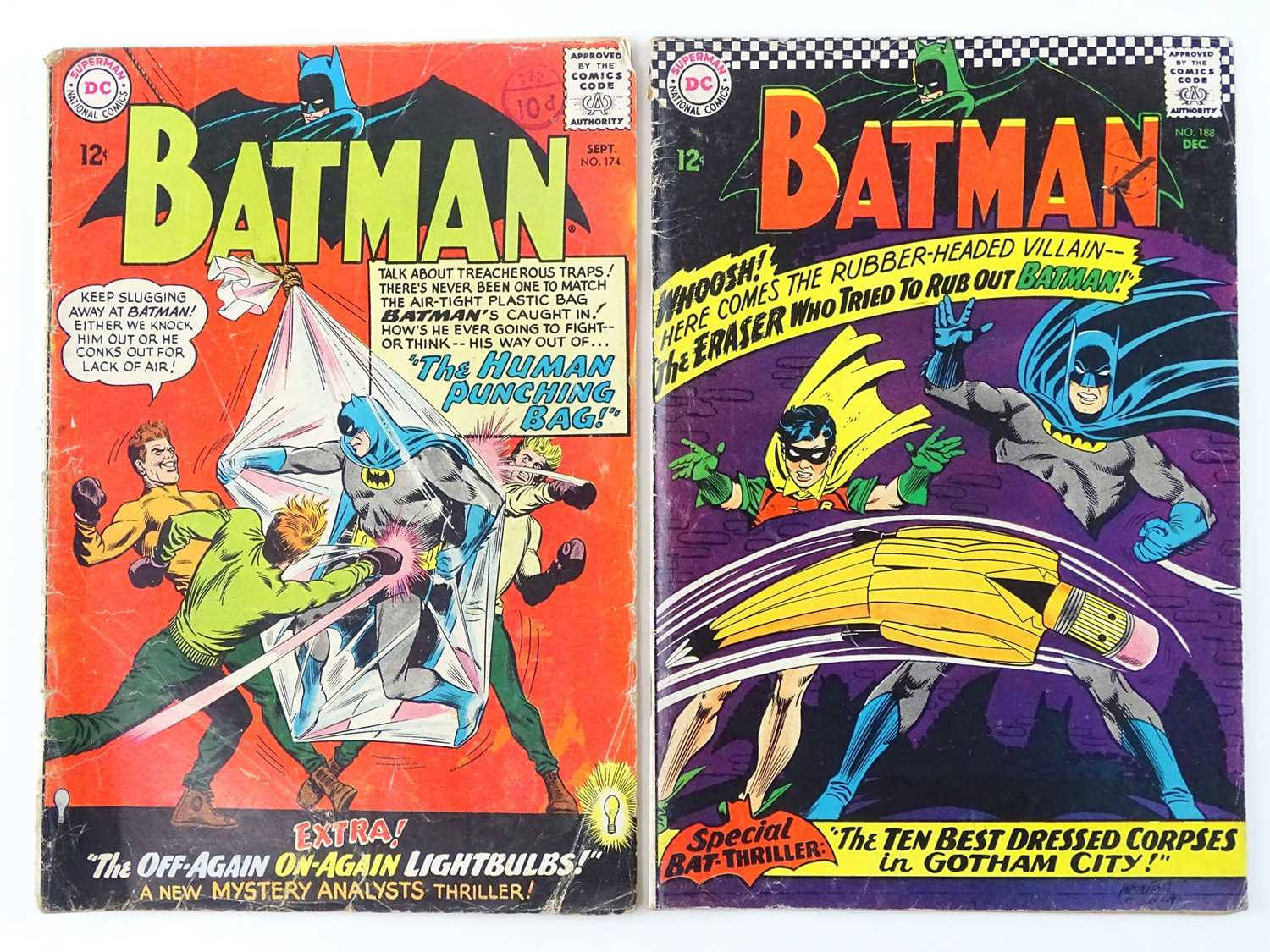 BATMAN #174 & 188 - (2 in Lot) - (1965/66 - DC - UK Cover Price) - Includes First appearance