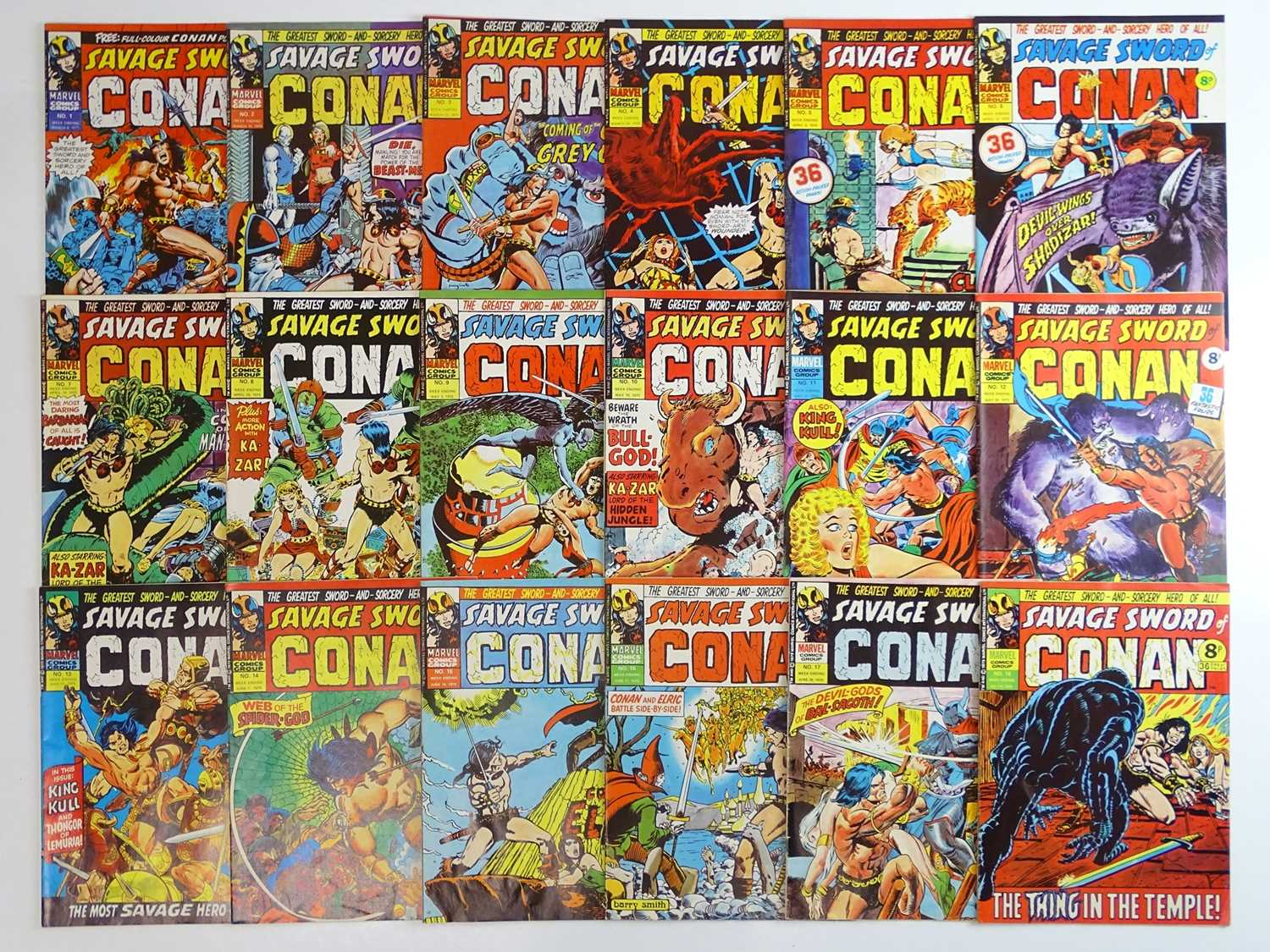 SAVAGE SWORD OF CONAN #1 to 18 - (18 in Lot) - (1975 - BRITISH MARVEL) - Complete 18 issue run