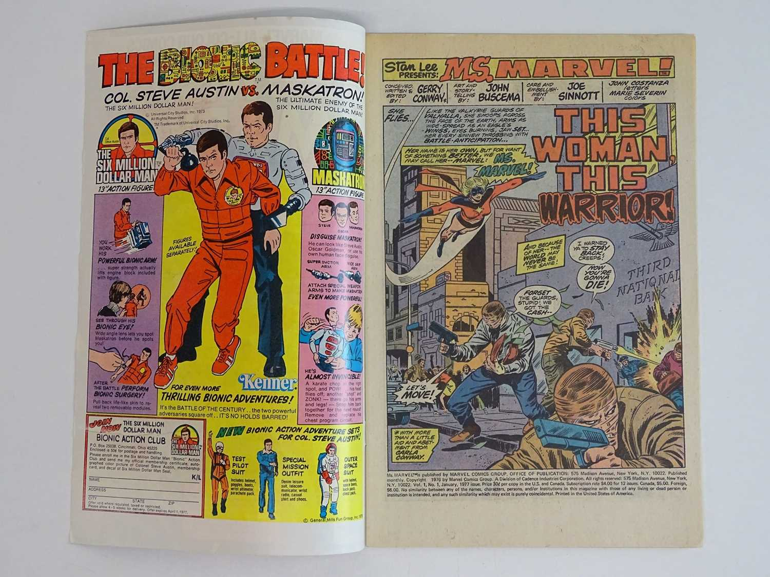MS. MARVEL #1 - (1977 - MARVEL - UK Price Variant) - Ms. Marvel's first own title solo series + - Image 3 of 9