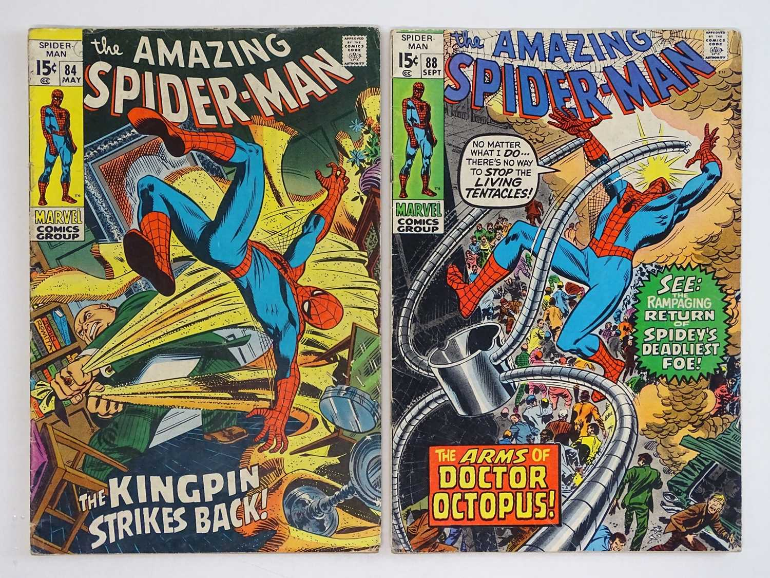 AMAZING SPIDER-MAN #84 & 88 - (2 in Lot) - (1970 - MARVEL) - Includes Kingpin, Doctor Octopus