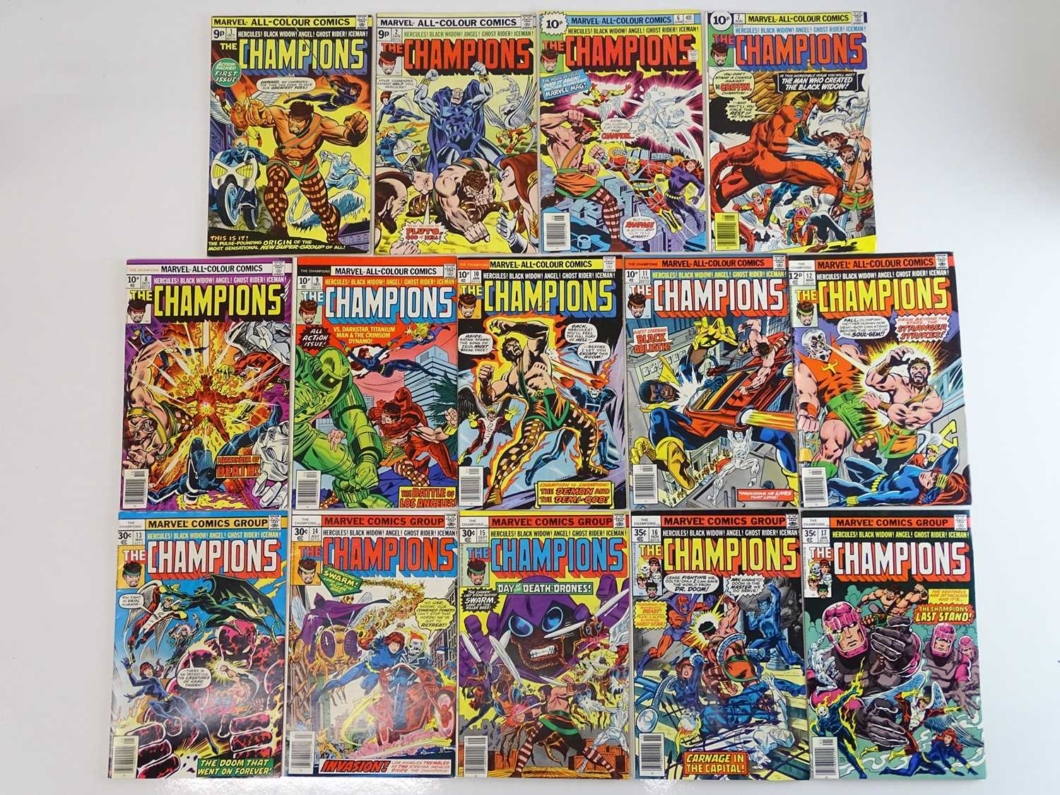 CHAMPIONS #1, 2, 6, 7, 8, 9, 10, 11, 12, 13, 14, 15, 16, 17 - (14 in Lot) - (1975/77 - MARVEL - US