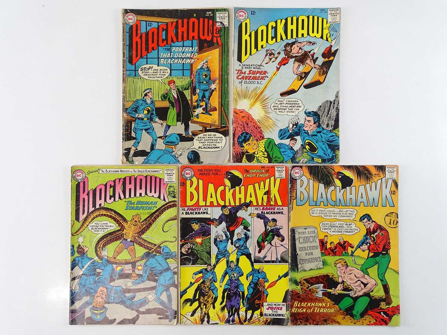 BLACKHAWK #187, 189, 190, 203, 206 - (5 in Lot) - (1963/65 - DC - UK Cover Price) - Includes
