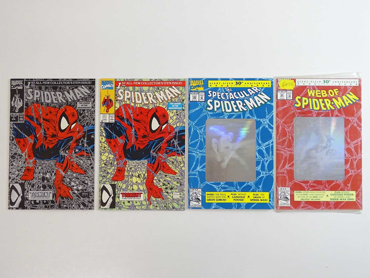 SPIDER-MAN LOT - (4 in Lot) - (MARVEL) Includes SPIDER-MAN (1990) REGULAR & SILVER #1 Issues of