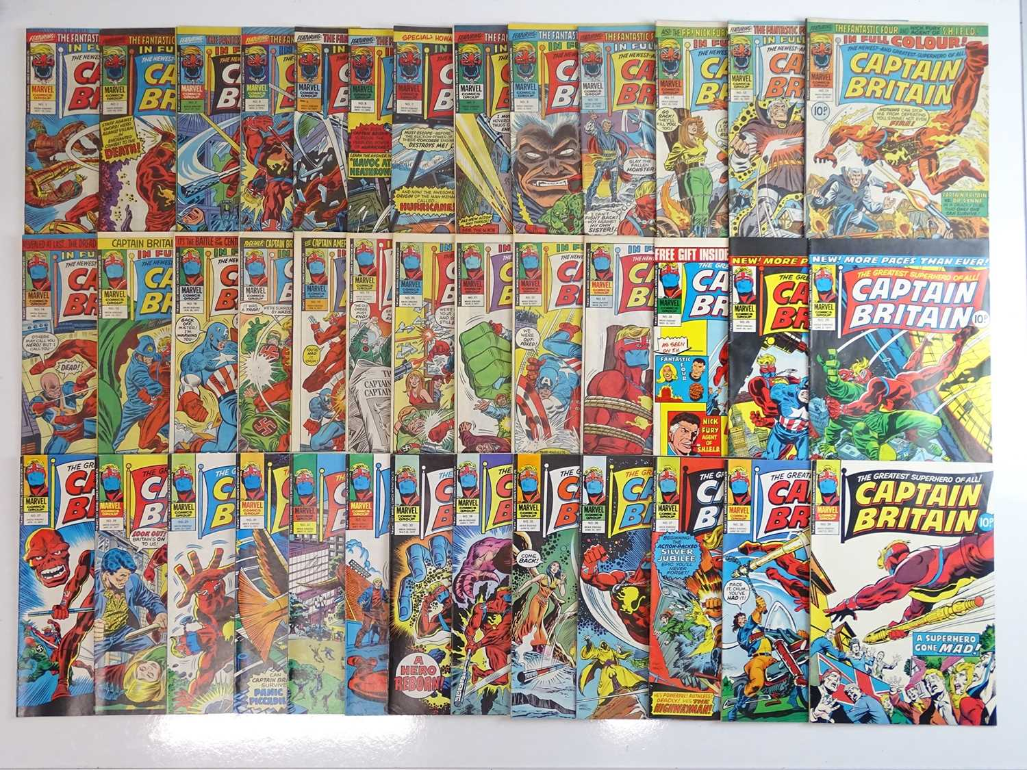 CAPTAIN BRITAIN #1 to 39 - (39 in Lot) - (1976/77 - BRITISH MARVEL) - Complete 39 issue run from #