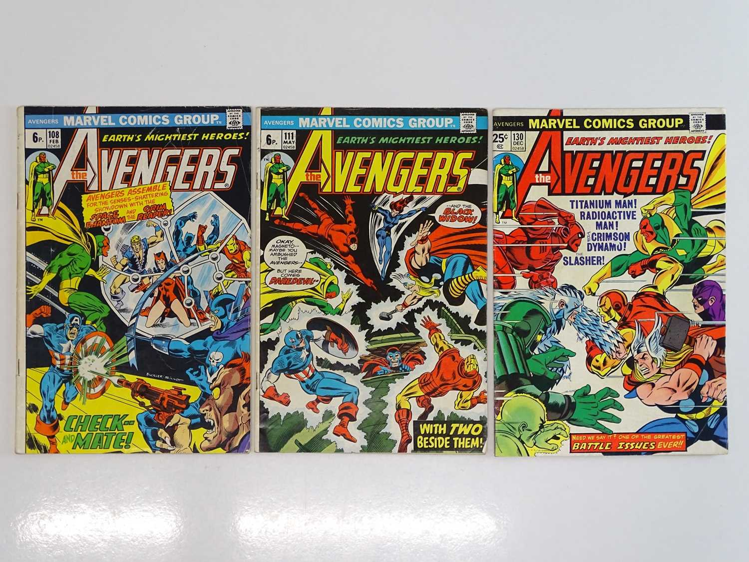 AVENGERS #108, 111, 130 - (3 in Lot) - (1973/74 - MARVEL - US Price & UK Price Variant) - Includes