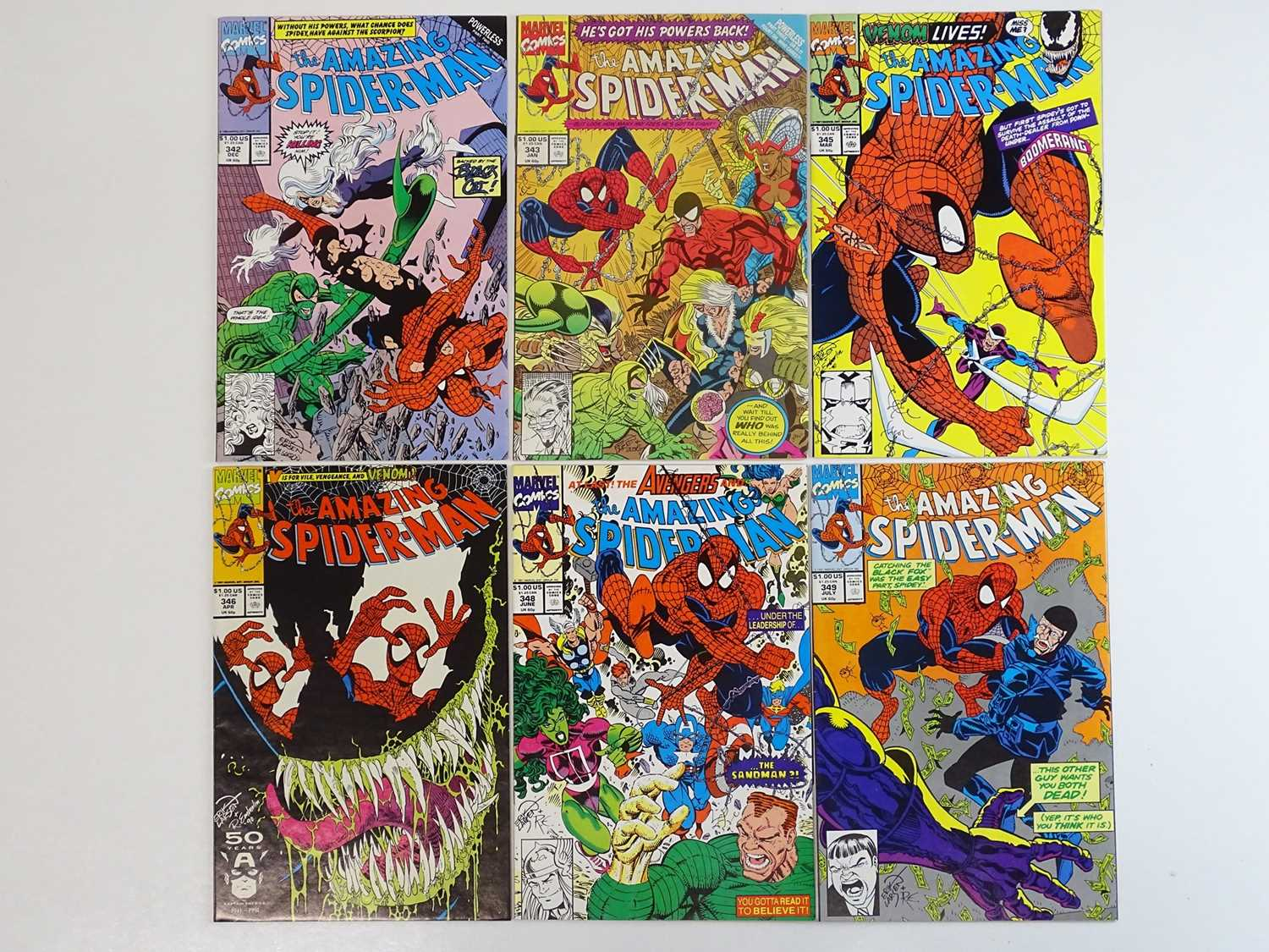 AMAZING SPIDER-MAN #342, 343, 345, 346, 348, 349 - (6 in Lot) - (1990/91 - MARVEL) - Includes Second