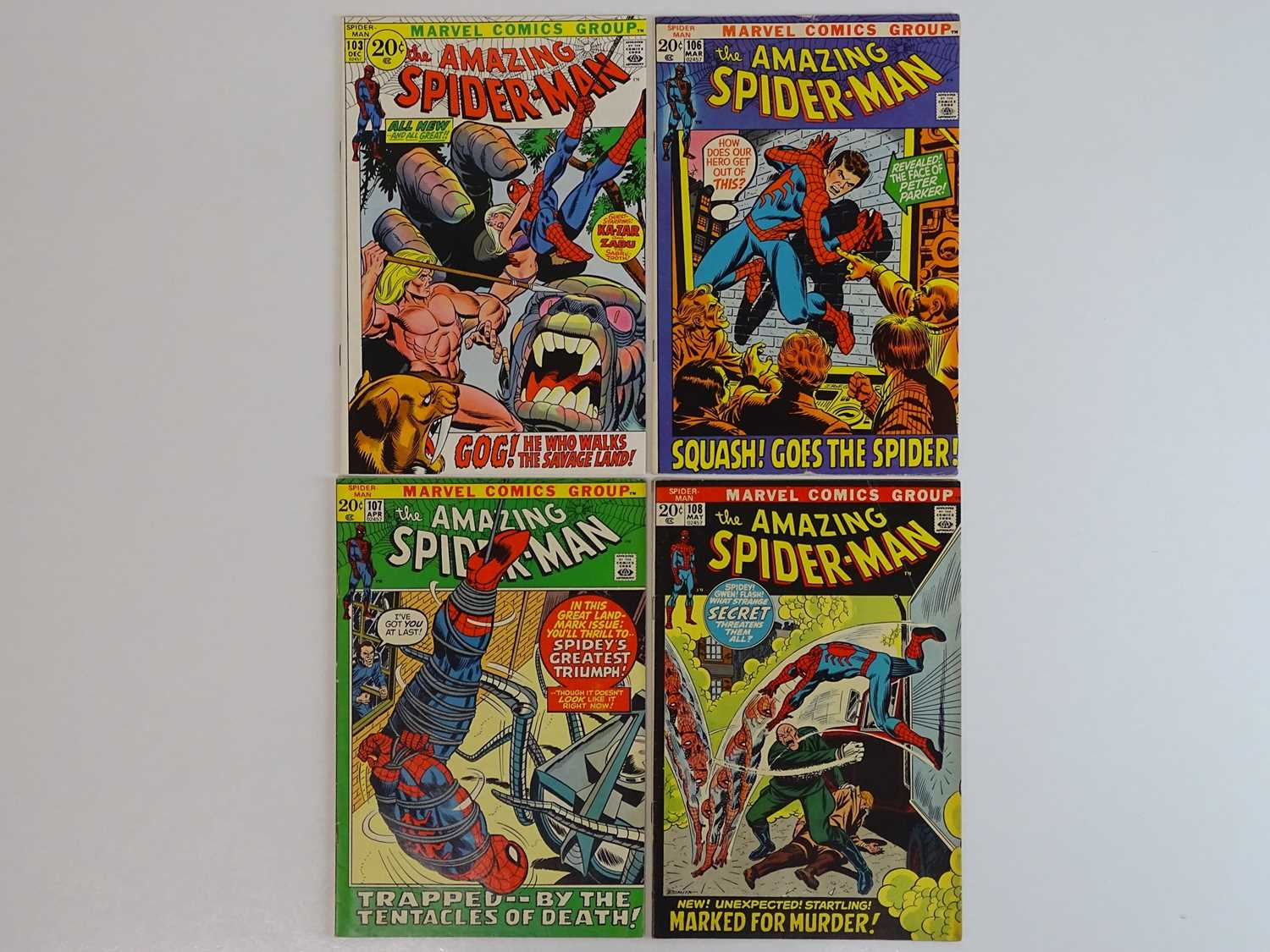 AMAZING SPIDER-MAN #103, 106, 107, 108 - (4 in Lot) - (1971/72 - MARVEL) - Includes First appearance