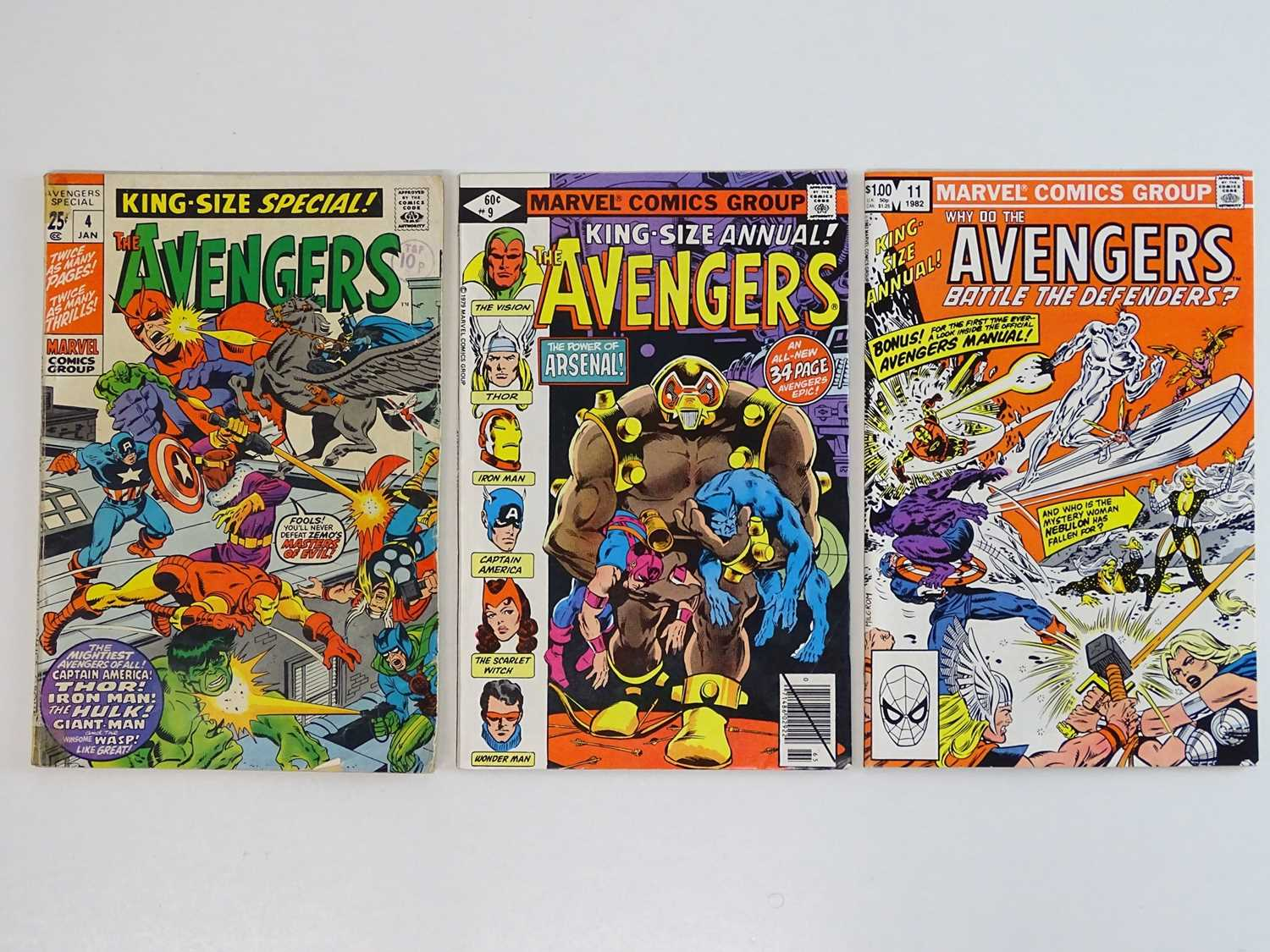 AVENGERS KING-SIZE ANNUALS #4, 9, 11 - (3 in Lot) - (1971/82 - MARVEL) - Includes First appearance