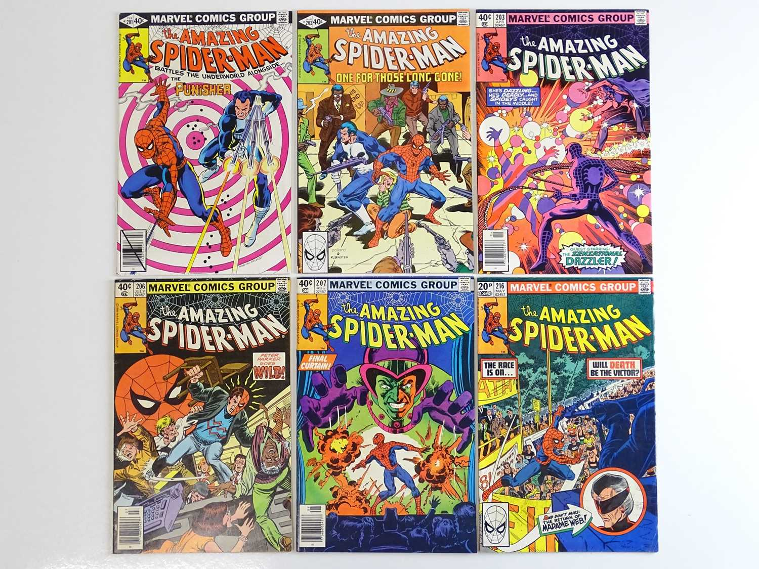 AMAZING SPIDER-MAN #201, 202, 203, 206, 207, 216 - (6 in Lot) - (1980/81 - MARVEL) - Includes