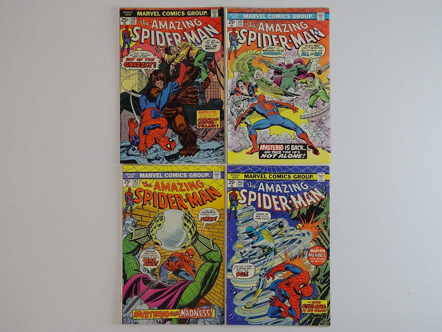 AMAZING SPIDER-MAN #139, 141, 142, 143 - (4 in Lot) - (1974/75 - MARVEL) - Includes First