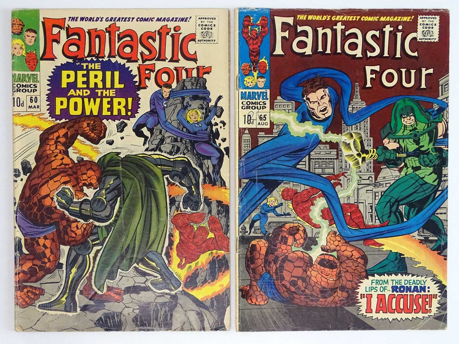 FANTASTIC FOUR #60 & 65 - (2 in Lot) - (1967 - MARVEL - UK Price Variant) - Includes First